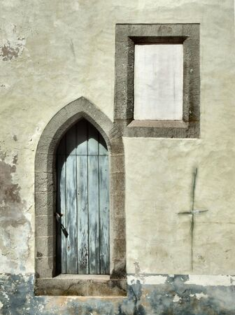Old crumbling wall and a window. Architecture detail in Tallinn, Estonia. Stock Photo - 667499