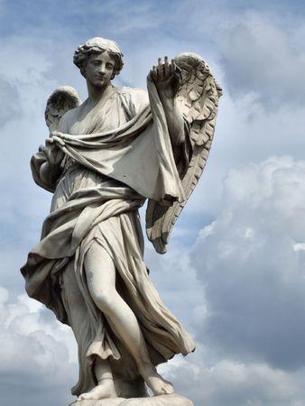 Angellic figure. Classic sculpture in Rome, Italy.