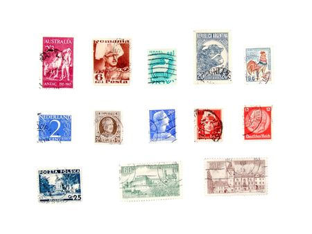 Postage stamps from various continents and countries: Netherlands, Belgium, Italy, Romania, Australia, Israel, Argentina, France, Czechoslovakia, Poland. Stock Photo - 689372