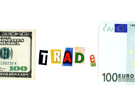 Conceptual photo of European and American currency and word photo