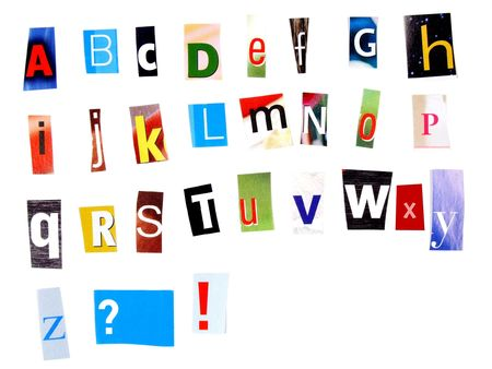 Alphabet made of newspaper clippings - colorful ABC. Stock Photo - 689381