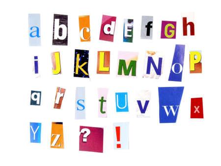clippings: Alfabeto hecho de recortes del peri�dico - ABC colorido. Foto de archivo