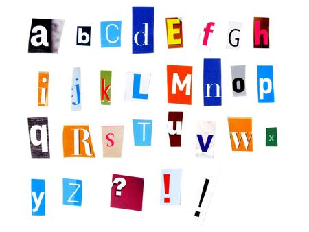 Alphabet made of newspaper clippings - colorful ABC. photo
