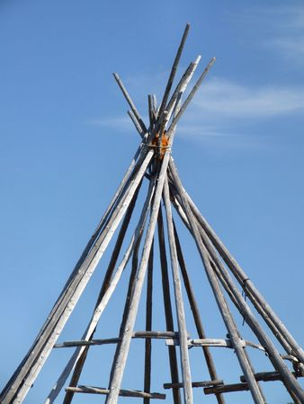 wigwam: Wigwam construction frame in Norway. Saami culture.