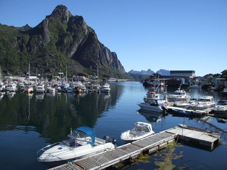 motorboats: A marina in Norway. Motorboats and yachts. Stock Photo