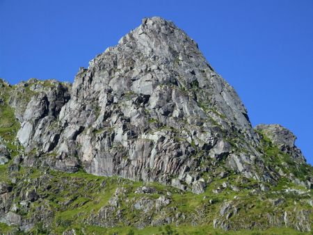 Rocky peak close-up. Mountains in Norway. Stock Photo - 689368