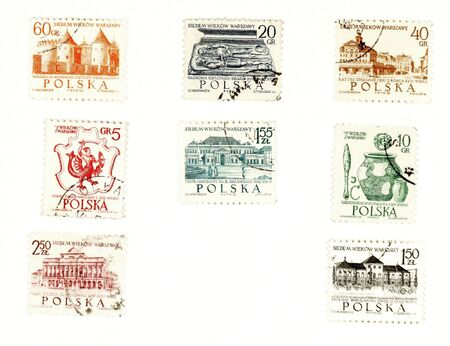 collectible: Collectible stamps from Poland. Set with sights from Warsaw.