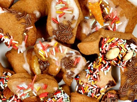 Delicious gingerbread biscuits. Seasoned holiday dessert. Christmas cuisine. photo