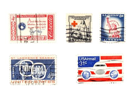 eisenhower: Cancelled postage stamps with various motifs. US collectible. Editorial