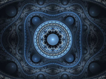 fx: Abstract fractal background. Computer generated graphics. 3D blue arabesque.