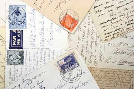 reich: Old postcards with handwriting and stamps from Belgium, South Africa and German Reich.