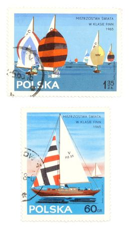 collectible: Collectible stamps from Poland. Set with sailing championships.