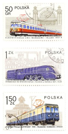 collectible: Collectible stamps from Poland. Set with railway locomotives.