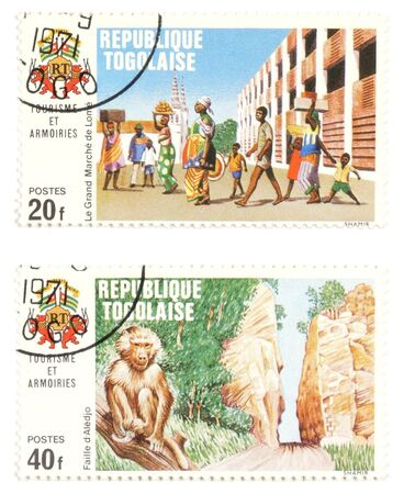 collectible: Collectible stamps from Togo. Set with natives and animal. Stock Photo