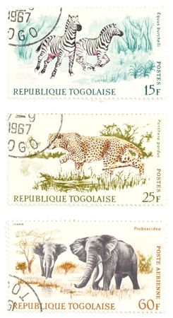 collectible: Collectible stamps from Togo. Set with exotic animals. Stock Photo