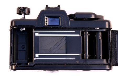 Traditional SLR photo camera. Inside view of the shutter. Good, old photographic equipment. Stock Photo - 943534