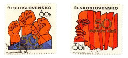 communistic: Sellos de colecci�n de Checoslovaquia. Conceptos establecidos con el comunismo. Foto de archivo