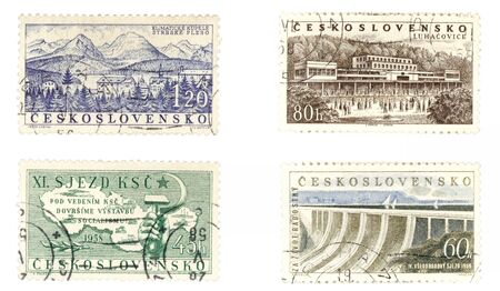 collectible: Obsolete postage stamps from Czechoslovakia. Old collectible items - leisure and hobby collection. These post stamps socialistic concepts and Czech spas.