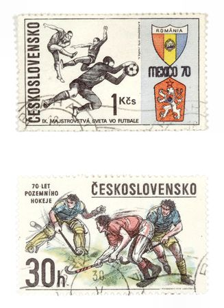 Obsolete postage stamps from Czechoslovakia. Old collectible items - leisure and hobby collection. These post stamps show sport anniversaries related to soccer and field hockey photo