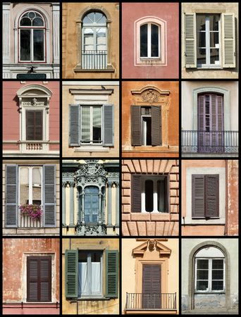 website window: Colorful composition made of windows - architecture collage. Windows from Rome, Barcelona, Tallinn and Bergamo.