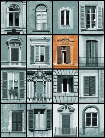 and distinctive: Beautiful old architecture collage with one colorful, distinctive window.