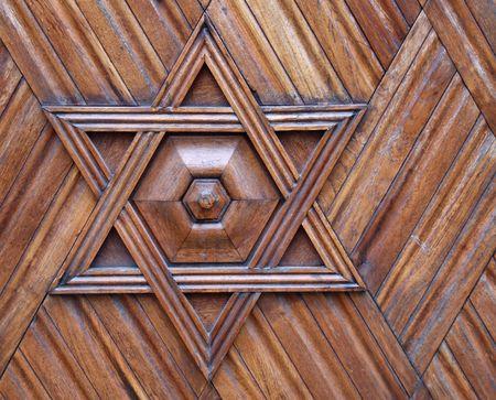 star of david: Wooden ornament - Jewish symbol.