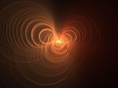 baratro: Abstract frattale sfondo. Generato dal computer grafica. Orange swirled abisso.
