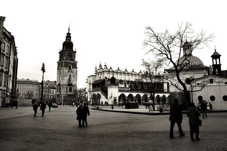Krakow in black and white. Beautiful Polish city that once has been the capital city. The view of main market square. Stock Photo