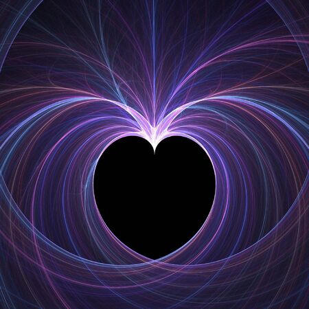Abstract fractal background. Computer generated graphics. Heart light shape.