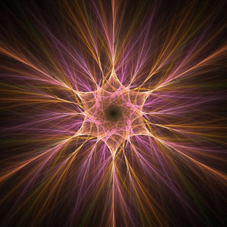 Abstract fractal background. Computer generated graphics. Colorful star shape. Stock Photo - 1148415