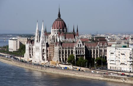 One of the most famous parliament buildings in the world. Hungarian Parliament in Budapest and Danube river.