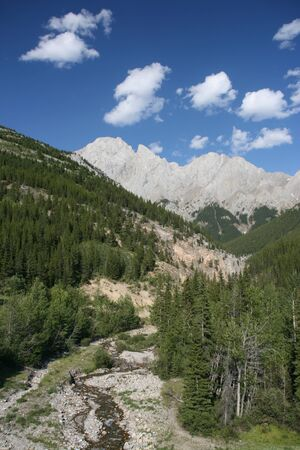 rock strata: Canadian Rockies - Kananaskis Country Provincial Park of Alberta. Beautiful landscape. Stock Photo