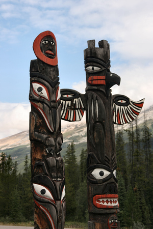 Canadian Indians totem in British Columbia. Tribal patterns. photo
