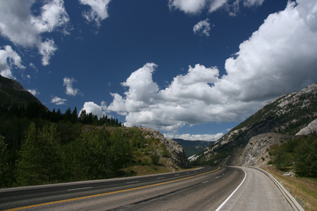 Crowsnest Pass on Crowsnest Highway - beautiful landscape and empty road. Stock Photo - 1574964