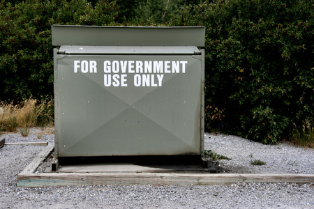 dumpster: Garbage dumpster For government use only - funny text