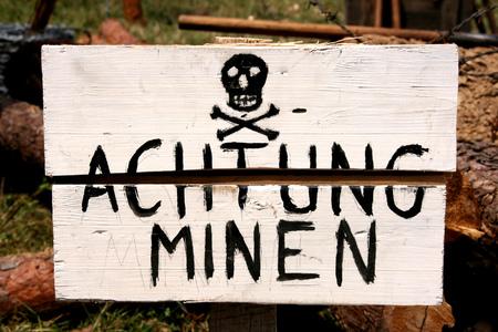 World War 2 concept - land mines warning in German