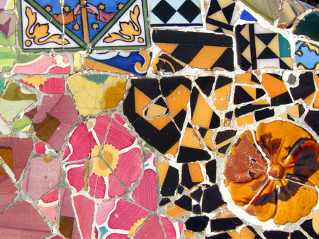 Interesting mosaic detail in Barcelona, Spain, Europe. Beautiful, decorative and colorful tiles. photo