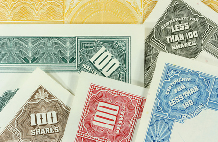 collectibles: Colorful, authentic, old share certificates of American corporations. Vintage scripophily collectibles.