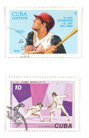 collectible: Collectible stamps from Cuba. Set with fencing and baseball. Stock Photo