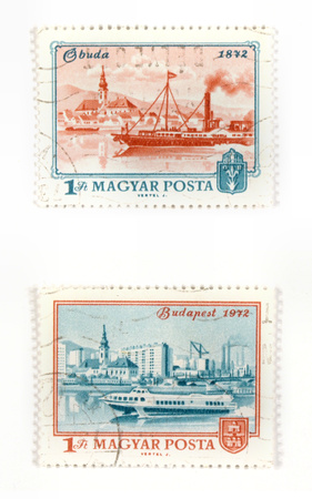 collectible: Collectible stamps from Hungary. Set with old Budapest views, showing the change from 1872 to 1972 - over 100 years period. Stock Photo