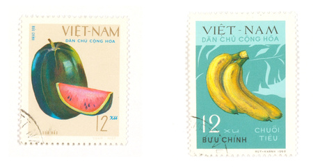 collectible: Collectible stamps from Vietnam. Set with fruit.