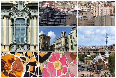 Collage with one of the most beautiful European cities - Gaudi's Barcelona. Stock Photo - 1676228