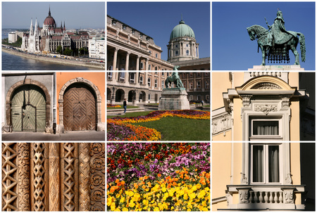 Hungarian capital city - interesting collage of street sights and typical places. Stock Photo