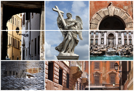the fountain with angels: Collage showing the eternal city - Rome, Italy, Europe.
