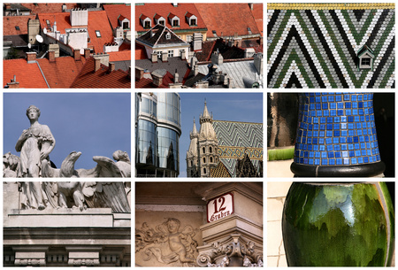 austrian: Vienna landmarks montage - beautiful places in famous Austrian city.
