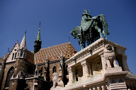 Hungarian King Saint Stephen statue and famous Matthias church (Matyas church) photo