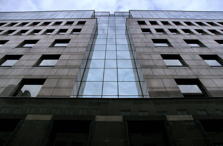 frontal view: Modern architecture in Budapest. Office building - frontal view.