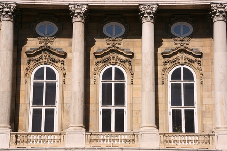 Decorative windows of a museum in Budapest photo
