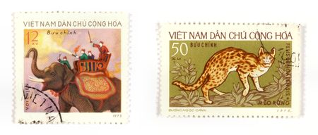 collectible: Collectible stamps from Vietnam. Set with elephant and leopard cat.