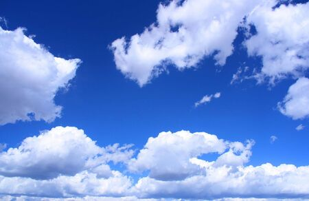 Beautiful, idyllic blue sky with white clouds. Perfect background.